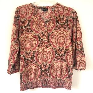 Lucky Brand Red Cream Paisley Blouse S
